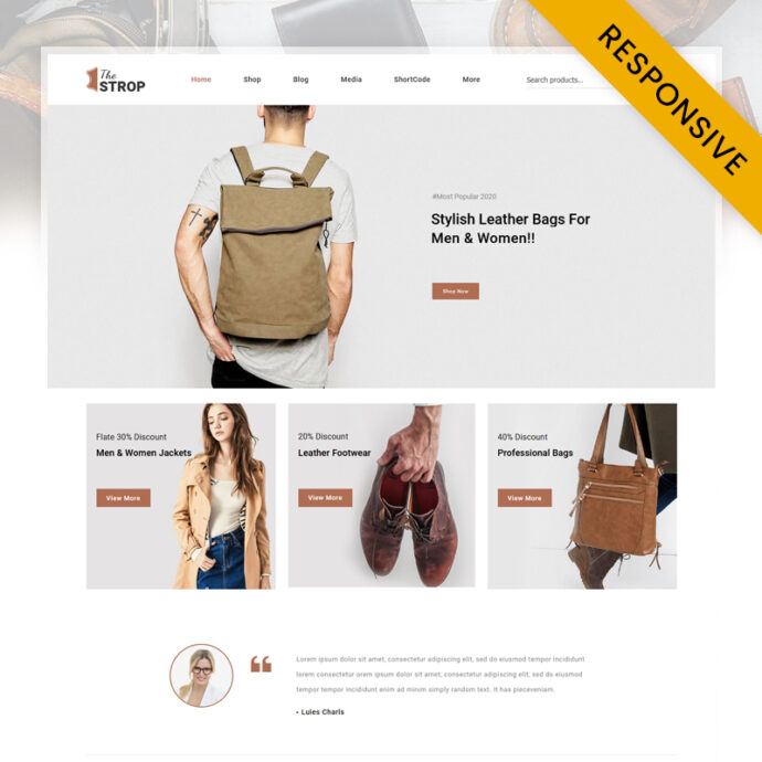 TheStrop - Leather Fashion Store WooCommerce Theme