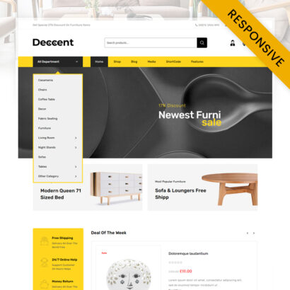 Deccent Furniture Store WooCommerce Theme