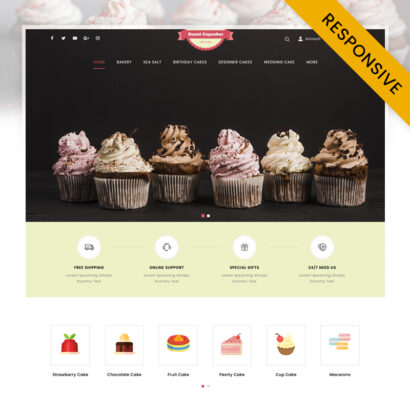 Bakery Sweet Cupcakes Store OpenCart Theme