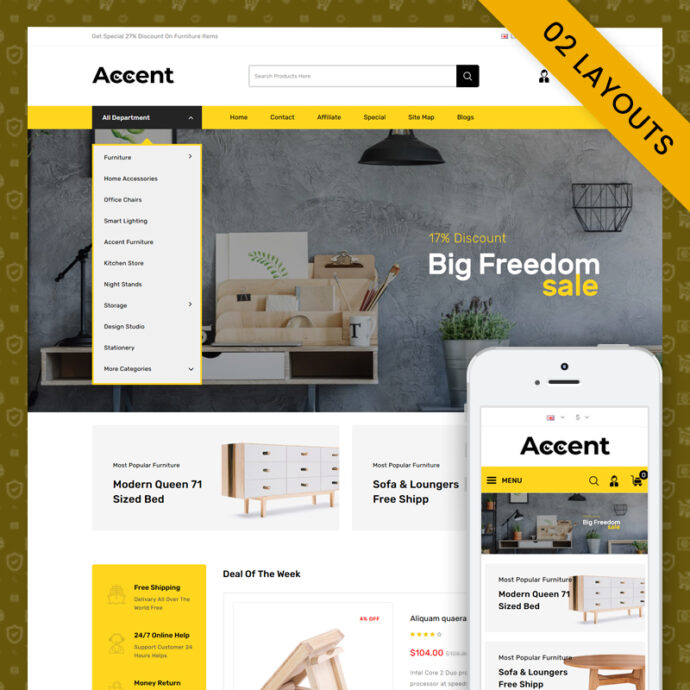 Accent - MultiPurpose OpenCart 3.x Responsive Theme