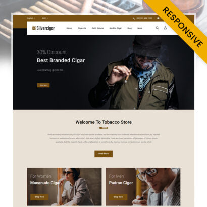 Silver Cigar Store Prestashop Responsive Theme