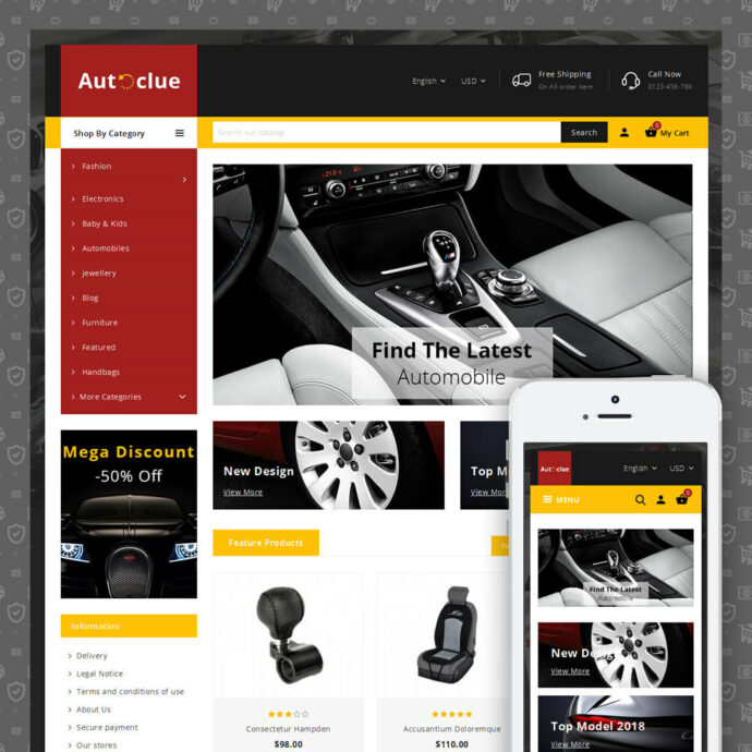 Autoclue - Automobile Store Prestashop Theme