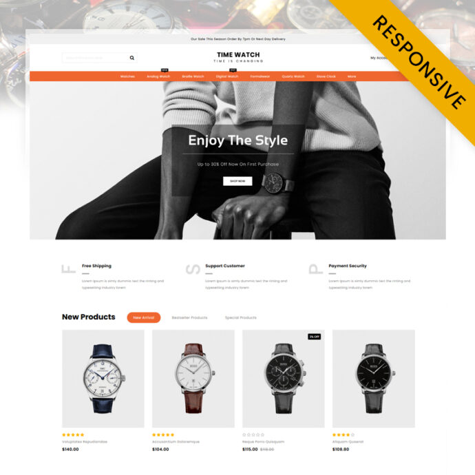 Time Watch Store OpenCart Theme