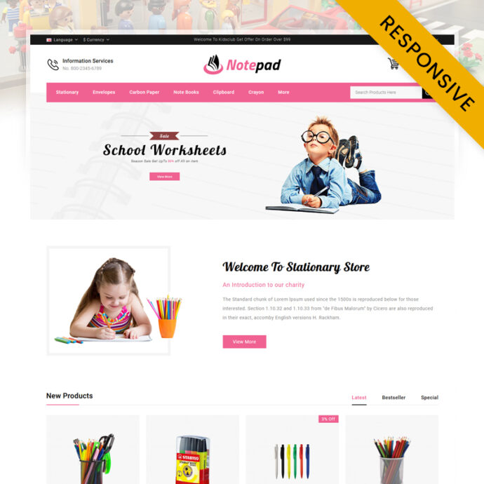 NotePad - Stationary Store OpenCart Theme