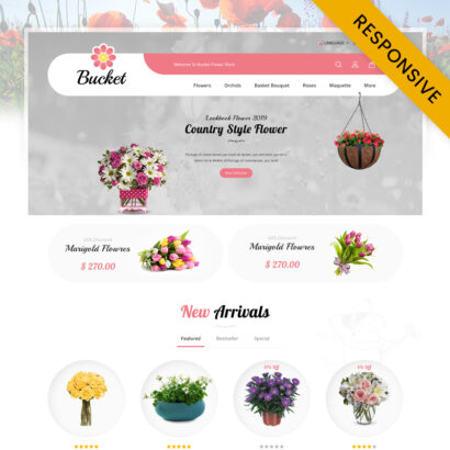 Bucket Flowers Store OpenCart Theme