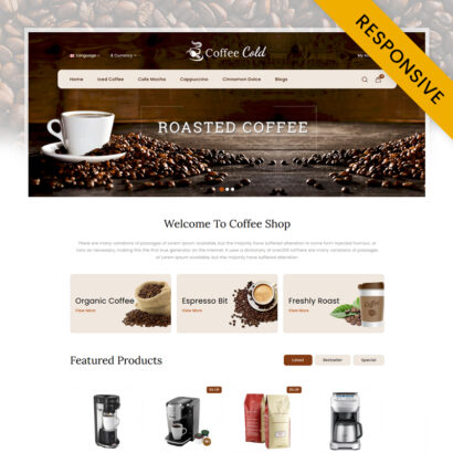 Cold Coffee Shop OpenCart Theme