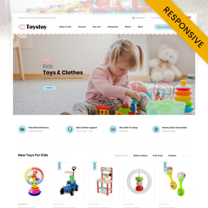Kids Cloth & Toy Store OpenCart Theme