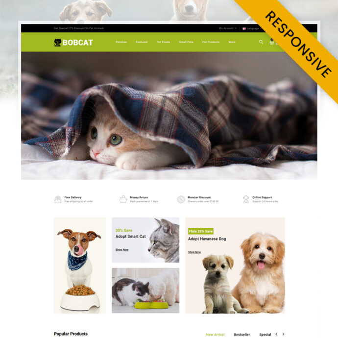Bobcat - Pets & Animals Store OpenCart Theme