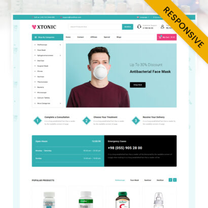 Xtonic - Medical Store OpenCart Theme