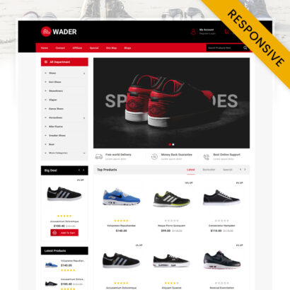 Wader Sports Shoes Store OpenCart Theme