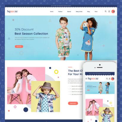 Squeeze - Kids Cloth Store PrestaShop Theme